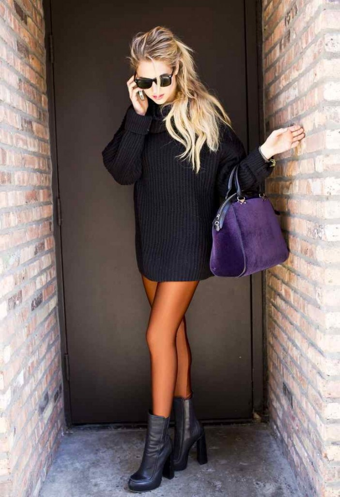 chunky black sweater 4 702x1024 Chunky Black Turtleneck
